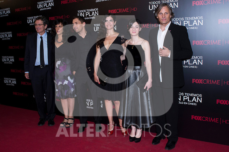 05.09.2012. Premier at the Capitol Cinema in Madrid of the movie ´Todos tenemos un Plan´.. Directed by Ana Piterbag and starring by Viggo Mortensen, Soledad Villamil and Javier Godino. In the image (3L-R) Javier Godino, Soledad Villamil, Ana Piterbag and Viggo Mortensen (Alterphotos/Marta Gonzalez)