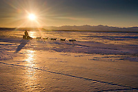 Jim Lanier runs down the slough as he nears Unalakleet at sunrise on Monday morning