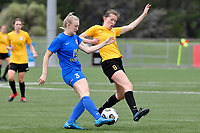 Hannah Mackay-Wright of Southern competes for the ball with Kaley Ward of Capital during the Handa Women's Premiership - Capital Football v Southern United at Petone Memorial Park, Wellington on Saturday 7 November 2020.<br /> Copyright photo: Masanori Udagawa /  www.photosport.nz