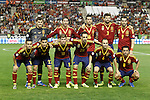 Spain's team photo with Iker Casillas, Sergio Ramos, Sergio Busquets,  Alvaro Negredo, Gerard Pique, Pedro Rodriguez, Jesus Navas, Alberto Moreno, Juanfran Torres, Andres Iniesta and Xavi Hernandez during international match of the qualifiers for the FIFA World Cup Brazil 2014.October 15,2013.(ALTERPHOTOS/Acero)