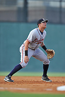 Third baseman Austin Riley (13) of the Rome Braves plays defense during a  game against the Greenville Drive on Thursday, July 28, 2016 at Fluor Field at the West End in Greenville, South Carolina. (Tom Priddy/Four Seam Images)