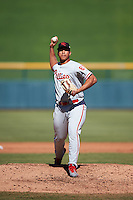 Scottsdale Scorpions pitcher Miguel Nunez (67), of the Philadelphia Phillies organization, during a game against the Mesa Solar Sox on October 18, 2016 at Sloan Park in Mesa, Arizona.  Mesa defeated Scottsdale 6-3.  (Mike Janes/Four Seam Images)
