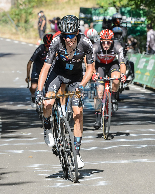 Romain Bardet (FRA) Team DSM attacks from the breakaway during Stage 14 of La Vuelta d'Espana 2021, running 165.7km from Don Benito to Pico Villuercas, Spain. 28th August 2021.     <br /> Picture: Cxcling | Cyclefile<br /> <br /> All photos usage must carry mandatory copyright credit (© Cyclefile | Cxcling)