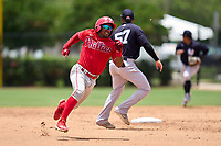 Philadelphia Phillies Uziel Viloria (23) running the bases during an Extended Spring Training game against the New York Yankees on June 22, 2021 at the Carpenter Complex in Clearwater, Florida. (Mike Janes/Four Seam Images)