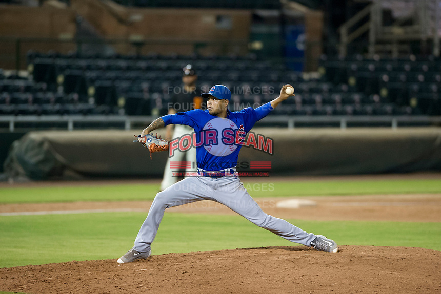 AZL Cubs relief pitcher Eugenio Palma (86) delivers a pitch to the plate during Game Three of the Arizona League Championship Series against the AZL Giants on September 7, 2017 at Scottsdale Stadium in Scottsdale, Arizona. AZL Cubs defeated the AZL Giants 13-3 to win the series two games to one. (Zachary Lucy/Four Seam Images)