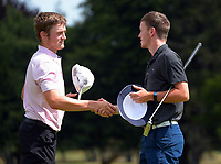 Cameron Harlock congratulates Kerry Mountcastle for making the final. Day four of the Brian Green Property Group NZ Super 6s Manawatu at Manawatu Golf Club in Palmerston North, New Zealand on Sunday, 28 February 2021. Photo: Dave Lintott / lintottphoto.co.nz