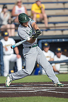 Eastern Michigan Eagles outfielder Mike Mioduszewski (15) swings the bat during the NCAA baseball game against the Michigan Wolverines on May 16, 2017 at Ray Fisher Stadium in Ann Arbor, Michigan. Michigan defeated Eastern Michigan 12-4. (Andrew Woolley/Four Seam Images)