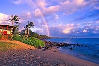 A rainbow off the south end of Kaanapali Beach facing Lahaina. Kaanapali was the first planned resort in the Hawaiian Islands.