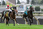 Interpol(6) with Jockey Emma-Jayne Wilson aboard races to victory at the Northern Dancer Turf Stakes at Woodbine Race Course in Toronto, Canada on September 13, 2015.