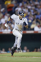 Derek Jeter of the New York Yankees runs to first base during a 2002 MLB season game against the Los Angeles Angels at Angel Stadium, in Anaheim, California. (Larry Goren/Four Seam Images)