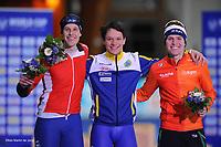 SPEEDSKATING: ERFURT: 20-01-2018, ISU World Cup, Podium 5000m Men Division B, Sindre Henriksen (NOR), Nils van der Poel (SWE) Marwin Talsma (NED), photo: Martin de Jong