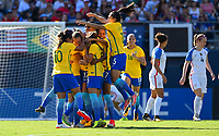 San Diego, CA - Sunday July 30, 2017: Brazil celebrates their goal during a 2017 Tournament of Nations match between the women's national teams of the United States (USA) and Brazil (BRA) at Qualcomm Stadium.
