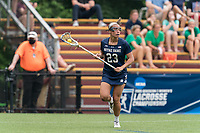 NEWTON, MA - MAY 22: Jackie Wolak #23 of Notre Dame looks to pass during NCAA Division I Women's Lacrosse Tournament quarterfinal round game between Notre Dame and Boston College at Newton Campus Lacrosse Field on May 22, 2021 in Newton, Massachusetts.