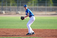 Miles Iverson (43), from Lake Forest Park, Washington, while playing for the Dodgers during the Under Armour Baseball Factory Recruiting Classic at Gene Autry Park on December 30, 2017 in Mesa, Arizona. (Zachary Lucy/Four Seam Images)