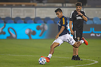 SAN JOSE, CA - SEPTEMBER 13: Efrain Alvarez  #17 of the L.A. Galaxy during warm ups during a game between Los Angeles Galaxy and San Jose Earthquakes at Earthquakes Stadium on September 13, 2020 in San Jose, California.