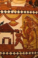 India: Indian Females Shiva Begging Shikshat-Anamurti (?). Ceiling of sanctuary of Shiva Temple at Chidambaram consecrated to the Goddess Sivaka-Masundari. Is she the great figure? The Nayak period.