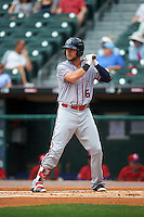 Syracuse Chiefs Matt Skole (16) at bat during a game against the Buffalo Bisons on July 31, 2016 at Coca-Cola Field in Buffalo, New York.  Buffalo defeated Syracuse 6-5.  (Mike Janes/Four Seam Images)