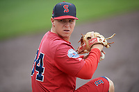 Salem Red Sox pitcher Bobby Poyner (34) during practice before the first game of a doubleheader against the Potomac Nationals on May 13, 2017 at G. Richard Pfitzner Stadium in Woodbridge, Virginia.  Potomac defeated Salem 6-0.  (Mike Janes/Four Seam Images)