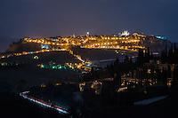 Nighttime overlooking Orvieto, Italy