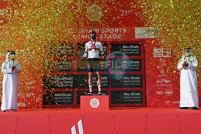 World Champion Filippo Ganna (ITA) Ineos Grenadiers wins Stage 2 of the 2021 UAE Tour running 13km around Al Hudayriyat Island, Abu Dhabi, UAE. 22nd February 2021.  <br /> Picture: LaPresse/Gian Mattia D'Alberto | Cyclefile<br /> <br /> All photos usage must carry mandatory copyright credit (© Cyclefile | LaPresse/Gian Mattia D'Alberto)