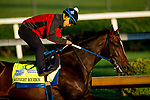 April 26, 2021: Midnight Bourbon works out in preparation for the Kentucky Oaks at Churchill Downs in Louisville, Kentucky on April 26, 2021. EversEclipse Sportswire/CSM