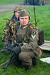 A Re-enactor portrayiing a Obergefreiter of the Grossdeutschland Panzer Grenadier Division  during a battle battle re-enactment in on Pickering Showground<br /> <br /> 17/18 October 2015<br />  Image © Paul David Drabble <br />  www.pauldaviddrabble.co.uk