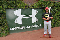 Chris Betts (26) of Wilson High School in Long Beach, California poses for a photo during practice before the Under Armour All-American Game on August 16, 2014 at Wrigley Field in Chicago, Illinois.  (Mike Janes/Four Seam Images)