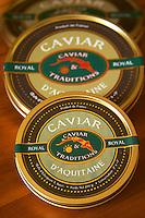 "Two tins of Caviar d'Aquitaine Royale from Caviar & Traditions  ""Caviar et Prestige"" Saint Sulpice et Cameyrac  Entre-deux-Mers  Bordeaux Gironde Aquitaine France - at Caviar et Prestige"