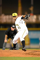 Bradenton Marauders pitcher Joan Montero #43 during a game against the St. Lucie Mets on April 12, 2013 at McKechnie Field in Bradenton, Florida.  St. Lucie defeated Bradenton 6-5 in 12 innings.  (Mike Janes/Four Seam Images)