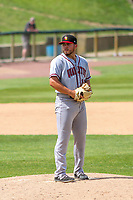 Quad Cities River Bandits pitcher Parker Mushinski (11) on the mound during a Midwest League game against the Kane County Cougars on July 1, 2018 at Northwestern Medicine Field in Geneva, Illinois. Quad Cities defeated Kane County 3-2. (Brad Krause/Four Seam Images)