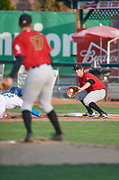 Ryan Fitzpatrick (34) of the Great Falls Voyagers receives a pick off throw against the Ogden Raptors at Lindquist Field on August 22, 2018 in Ogden, Utah. Great Falls defeated Ogden 3-1. (Stephen Smith/Four Seam Images)