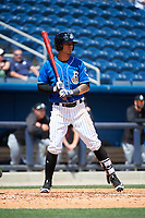 Biloxi Shuckers third baseman Angel Ortega (2) at bat during a game against the Jackson Generals on April 23, 2017 at MGM Park in Biloxi, Mississippi.  Biloxi defeated Jackson 3-2.  (Mike Janes/Four Seam Images)