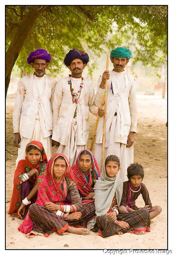 Inde<br /> Désert du Rajasthan, groupe de berger