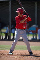 Los Angeles Angels shortstop Livan Soto (16) during a Minor League Spring Training game against the Colorado Rockies at Tempe Diablo Stadium Complex on March 18, 2018 in Tempe, Arizona. (Zachary Lucy/Four Seam Images)