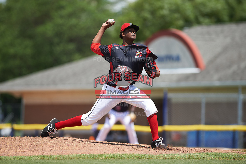 Batavia Muckdogs relief pitcher Edward Cabrera (30) delivers a pitch during a game against the West Virginia Black Bears on June 25, 2017 at Dwyer Stadium in Batavia, New York.  West Virginia defeated Batavia 6-4 in the completion of the game started on June 24th.  (Mike Janes/Four Seam Images)