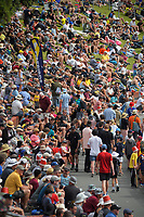 A packed embankment during the Dream11 Super Smash T20 men's cricket final between Wellington Firebirds and Canterbury Kings at the Basin Reserve in Wellington, New Zealand on Saturday, 13 February 2021. Photo: Dave Lintott / lintottphoto.co.nz