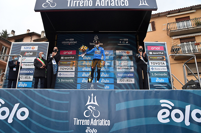 Wout Van Aert (BEL) Team Jumbo-Visma retains the race leaders Maglia Azzurra at the end of Stage 3 of Tirreno-Adriatico Eolo 2021, running 219km from Monticiano to Gualdo Tadino, Italy. 12th March 2021. <br /> Photo: LaPresse/Gian Mattia D'Alberto | Cyclefile<br /> <br /> All photos usage must carry mandatory copyright credit (© Cyclefile | LaPresse/Gian Mattia D'Alberto)