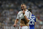 Real Madrid´s Karim Benzema misses a goal chance during the Champions League semi final soccer match between Real Madrid and Juventus at Santiago Bernabeu stadium in Madrid, Spain. May 13, 2015. (ALTERPHOTOS/Victor Blanco)