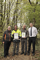 DS Smith Packaging, Crumlin, Newport, which has won a Green Space Business Award.<br /> Pictured left to right, Michael Kingsbury, Commercial Manager, Eric Morgan, Machine Operator, Steve Franklin, Machine Operator, and Neil Walding, Plant Manager.