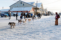 Ray Redington Jr. runs on Front Street in Nome on the way to the a 4th place finish on Wednesday March 14th in the 46th running of the 2018 Iditarod Sled Dog Race.  <br /> <br /> Photo by Jeff Schultz/SchultzPhoto.com  (C) 2018  ALL RIGHTS RESERVED