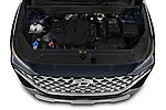 Car Stock 2021 Hyundai Santa-FE SEL 5 Door SUV Engine  high angle detail view