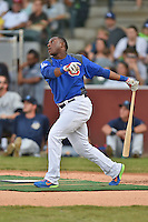 Chattanooga Lookouts first baseman O'Koyea Dickson #7 swings at a pitch during the Southern League Home Run Derby at Engel Stadium on June 16, 2014 in Chattanooga, Tennessee.  (Tony Farlow/Four Seam Images)