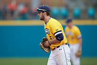 UNCG Spartans first baseman Josh Madole (6) on defense against the \sd at Springs Brooks Stadium on February 16, 2020 in Conway, South Carolina. The Spartans defeated the Aztecs 11-4.  (Brian Westerholt/Four Seam Images)