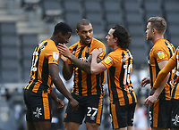 Hull City's Josh Magennis  is congratulated after scoring his side's first goal  <br /> <br /> Photographer Rob Newell/CameraSport<br /> <br /> The EFL Sky Bet League One - MK Dons v Hull City - Saturday 21st November 2020 - Stadium MK - Milton Keynes<br /> <br /> World Copyright © 2020 CameraSport. All rights reserved. 43 Linden Ave. Countesthorpe. Leicester. England. LE8 5PG - Tel: +44 (0) 116 277 4147 - admin@camerasport.com - www.camerasport.com