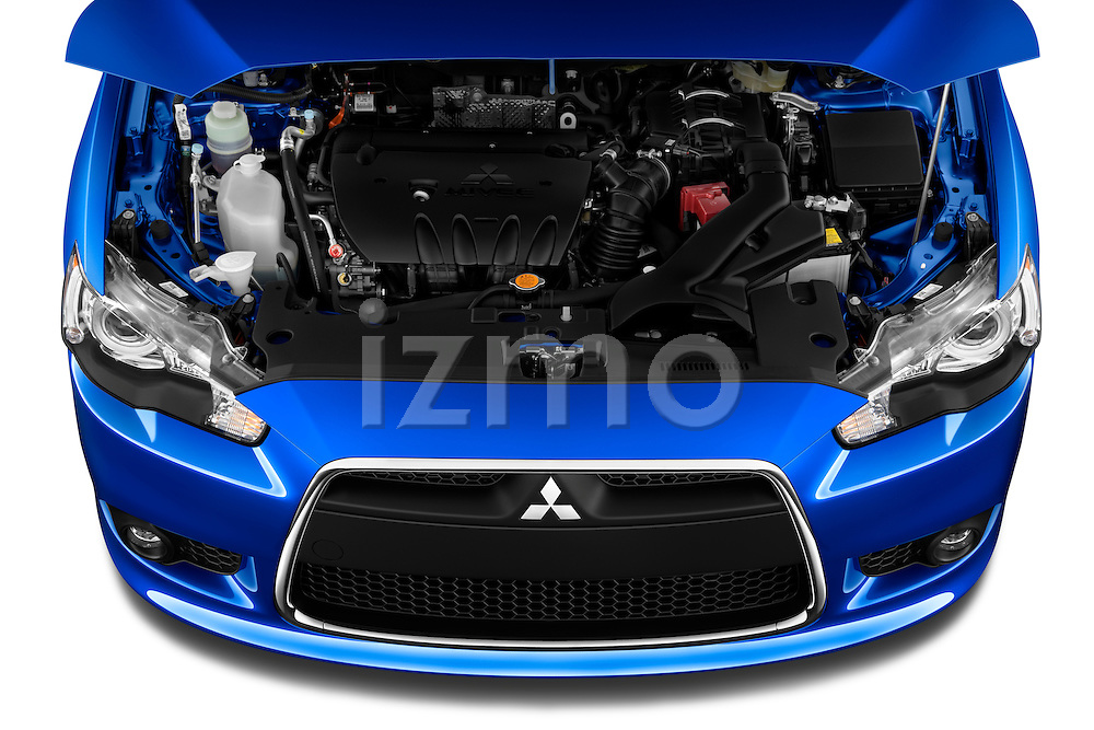 High angle view of hood and engine on a 2012 Mitsubishi Lancer Sportback GT