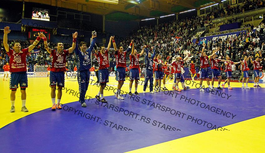 Serbian national handball team players celebrate after EHF EURO 2012 handball championship game Serbia vs Poland in Belgrade, Serbia, Sunday, January 15, 2011.  (photo: Pedja Milosavljevic / thepedja@gmail.com / +381641260959)