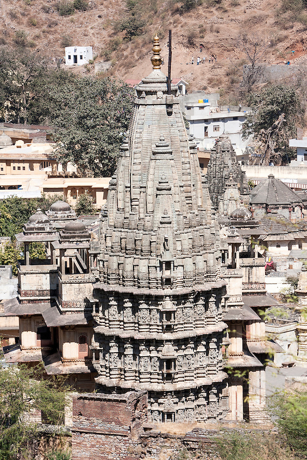 Village of Amber, near Jaipur, Rajasthan, India.  A  pyramidal Hindu temple in the Dravidian style, from south India.