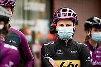 Lotte Kopecky (BEL/Liv Racing) at the race start in Denain<br /> <br /> Inaugural Paris-Roubaix Femmes 2021 (1.WWT)<br /> One day race from Denain to Roubaix (FRA)(116.4km)<br /> <br /> ©kramon
