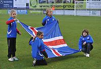 Qualification Women's Euro 2013 - Belgium - Iceland ; Belgie - Ijsland ; Armand Melis Stadion Dessel :.vlag van Ijsland..foto DAVID CATRY / Vrouwenteam.be