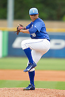 Burlington Royals starting pitcher Andres Machado (36) in action against the Greeneville Astros at Burlington Athletic Park on July 1, 2013 in Burlington, North Carolina.  The Astros defeated the Royals 8-1 in Game Two of a doubleheader.  (Brian Westerholt/Four Seam Images)